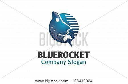 Blue Rocket Creative And Symbolic Logo Design Illustration