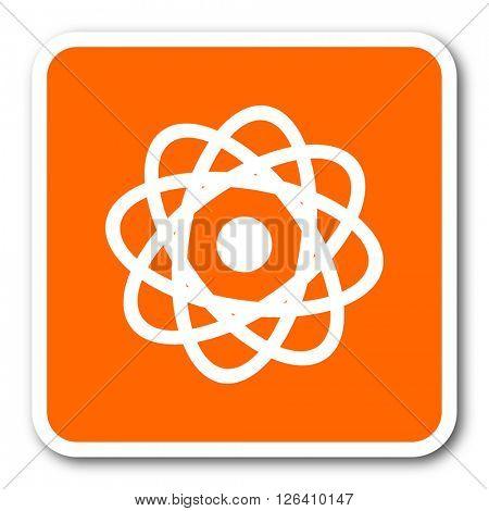 atom orange flat design modern web icon