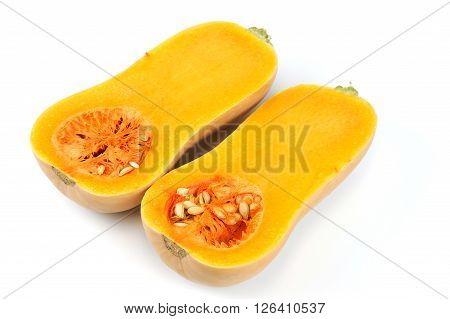 butternut squash cut in halves isolated on white background