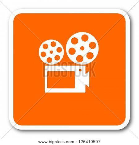 movie orange flat design modern web icon