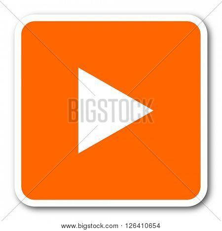 play orange flat design modern web icon