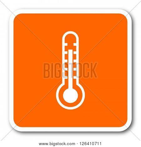 thermometer orange flat design modern web icon