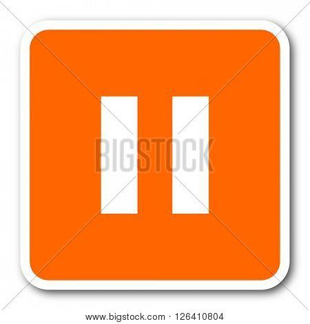 pause orange flat design modern web icon