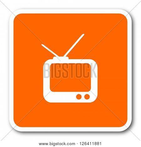 tv orange flat design modern web icon