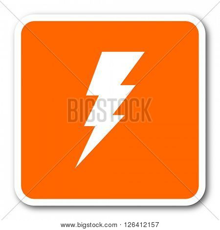 bolt orange flat design modern web icon