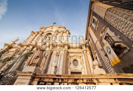 View of the Catania cathedral in Sicily
