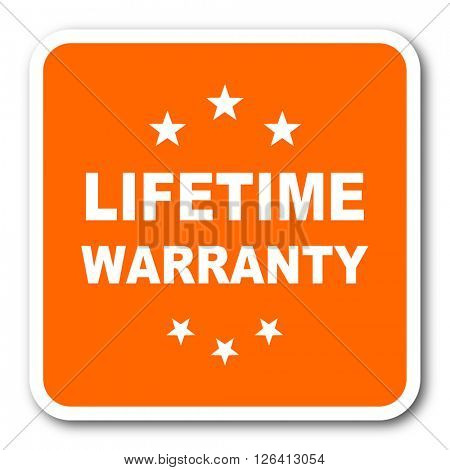 lifetime warranty orange flat design modern web icon