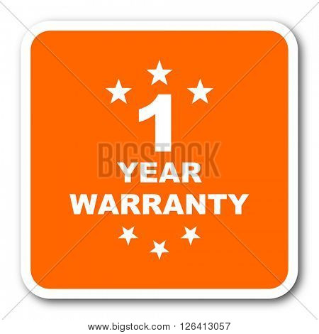 warranty guarantee 1 year orange flat design modern web icon
