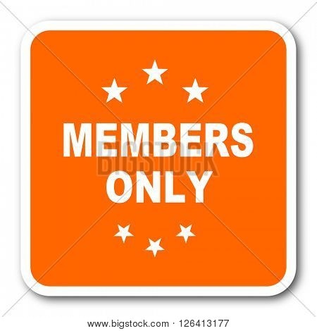 members only orange flat design modern web icon
