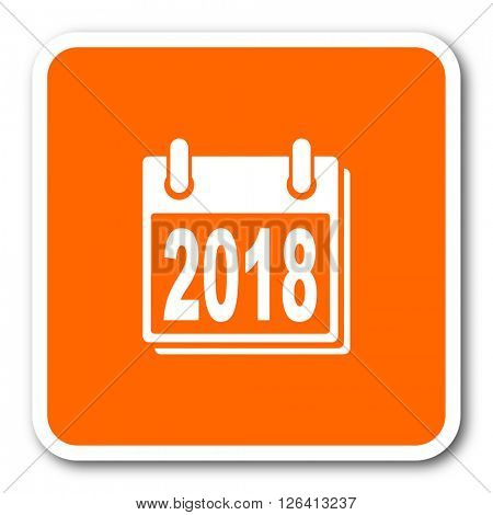 new year 2018 orange flat design modern web icon