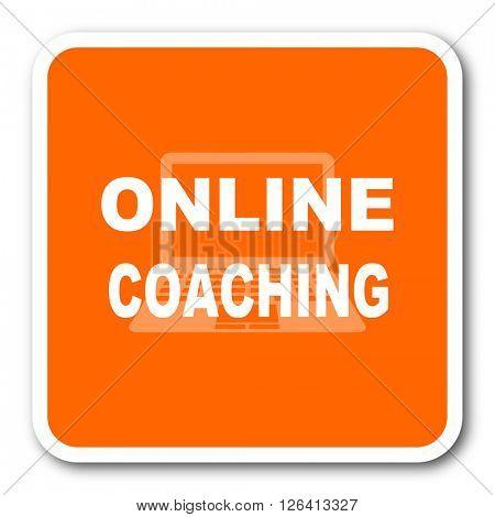 online coaching orange flat design modern web icon