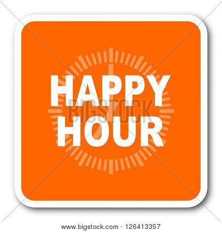 happy hour orange flat design modern web icon