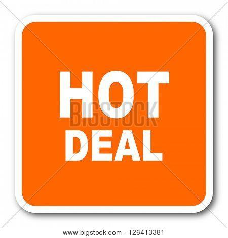 hot deal orange flat design modern web icon