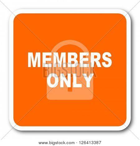 members only orange flat design modern web icon
