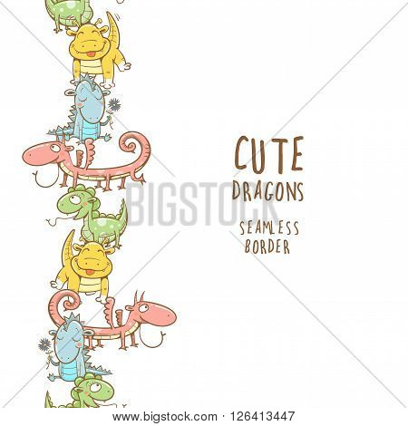 Fairy seamless border with cute cartoon dragons on white  background. Vector image.