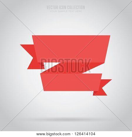 Flat vector ribbon. Design ribbon. Blank badge. Abstract ribbon template. Retail ribbon. Web sticker. Blank ribbon. Isolated ribbon. Colorful ribbon. Badge ribbon. Ribbon icon. Blank label. Graphic element.