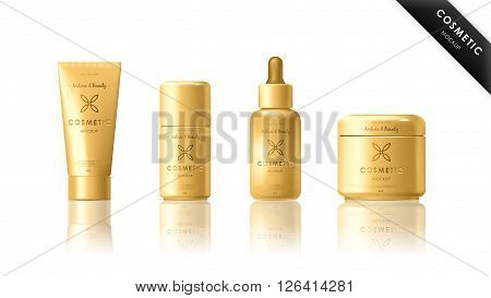 Realistic bottle mock up set. Isolated pack on white background. Cosmetic brand template. Vector packaging. Oil, lotion, shampoo.