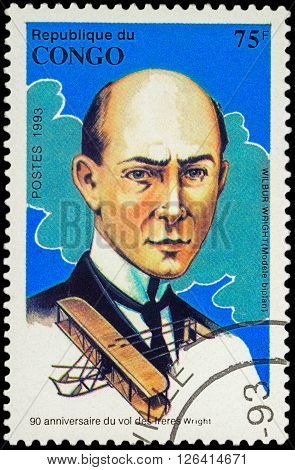 MOSCOW RUSSIA - APRIL 15 2016: A stamp printed in Congo shows Portrait of Wilbur Wright series