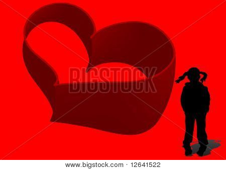 illustration of girl and heart