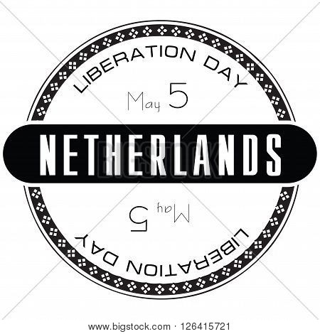 National holiday in Netherlands Liberation Day. Stamp illustration.
