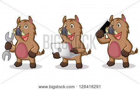 Brown Wild Pig Mascot with phone, laptop and tools