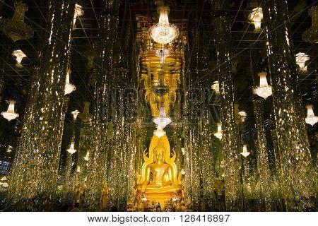 Buddha in a glass temple Wat Tha Sung Uthai Thani Thailand