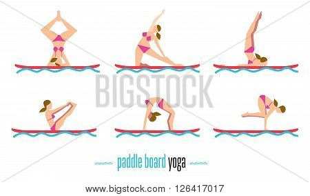 Paddle board yoga set, sup yoga. Six different poses on the paddle board. Girl standing in different yoga poses. Bitmap illustration. Relaxing time.