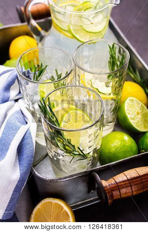 Summer refreshing beverage with citrus cucumber and rosemary. Refreshing drinks