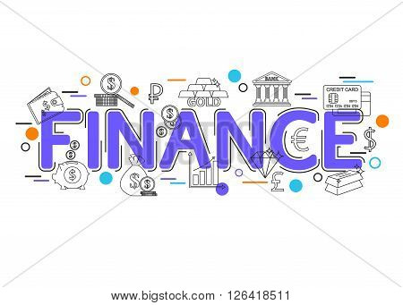 Finance Background with vector icons and elements. Finance Banner Template. Finance Concept. Finance Business.  Business Loan. Financial Background. Flat Style, Thin Line Art Design.