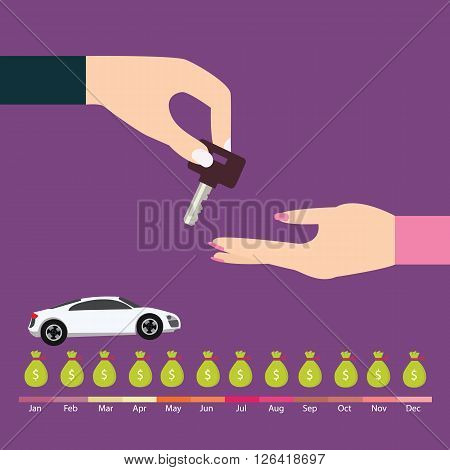 buy car loan credit payment term key hand over auto deal scheduled debt pay vector