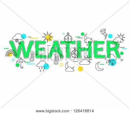Weather Concept with vector icons and elements. Weather Forecast. Weather icons. Weather Banner.  Flat Style, Thin Line Art Design. Vector illustrator.