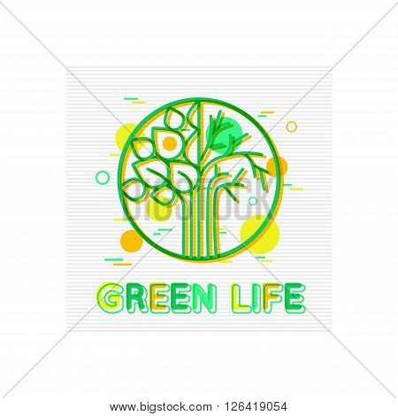 Green Life Concept. Green Life  Banner. Green Life Logo. Green Life Design. Green Life background. Green Lifestyle. Green Living. Green Leaf. Flat Style. Vector illustrator.