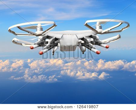 Drone with missiles over clouds. New technology for terrorists.