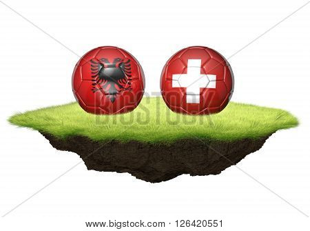 Albania and Switzerland team balls for football championship tournament, 3D rendering