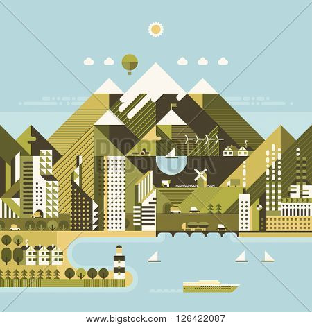 Infographic - modern city, industry, ecosystem and travel. Flat design. City in mountains, sea port.