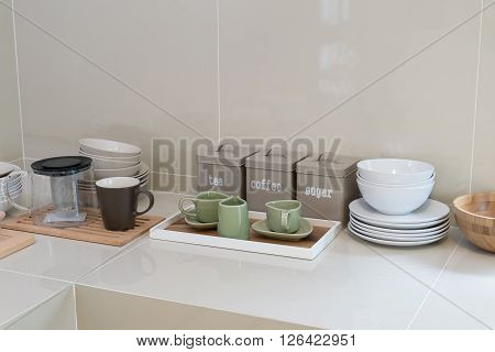 modern pantry with utensil in kitchen on counter
