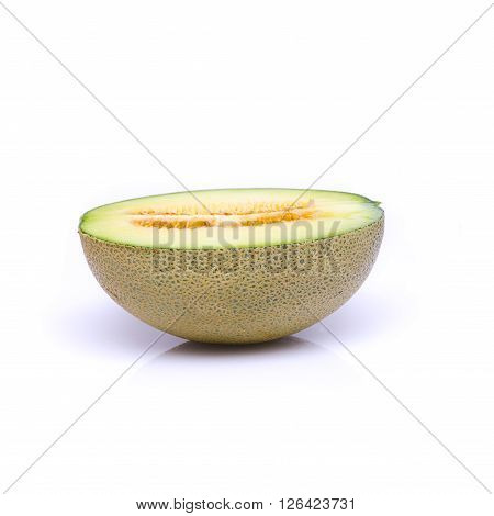 Haft of melon on the white background