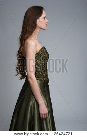 Profile Of Beauty Woman Wearing Dress