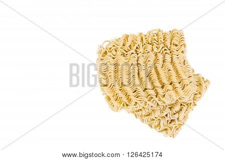Uncooked Instant Noodles On White Background