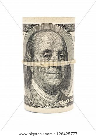 USD binded with elastic on white background