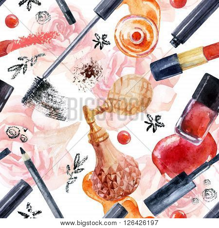 Watercolor beauty seamless pattern. Essential makeup must-haves painting. Beauty product background. Cosmetics on pink roses background. Hand painted illustration for fashionable design.