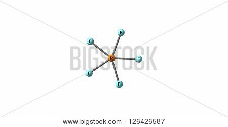 Phosphorus pentafluoride is a phosphorus halide. It is a colourless gas at room temperature and pressure. 3D illustration.