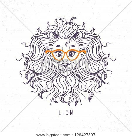 beautiful portrait cartoon cute lion with glasses. Vector illustration