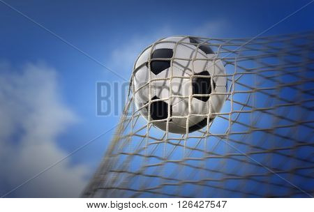 soccer ball agains blue sky