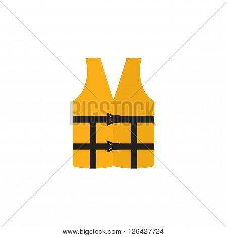 Orange life vest isolated on a white background. Life jacket icon. Lifejacket in flat style.