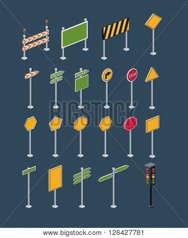 isometrics road sign design, vector illustration eps10 graphic