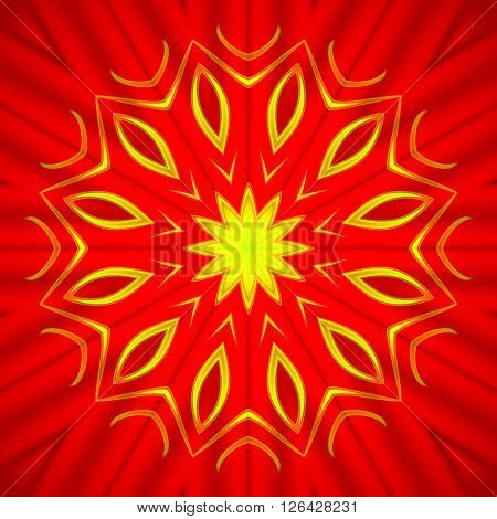 Abstract geometric seamless background. Bright yellow star pattern on deep red, shimmering and conspicuous.
