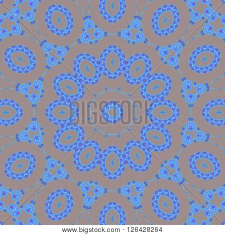 Abstract geometric seamless ellipses background. Dreamy ornament in azure blue and purple shades on silver gray.
