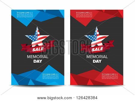 Memorial day patriotic flayer, placard vector template