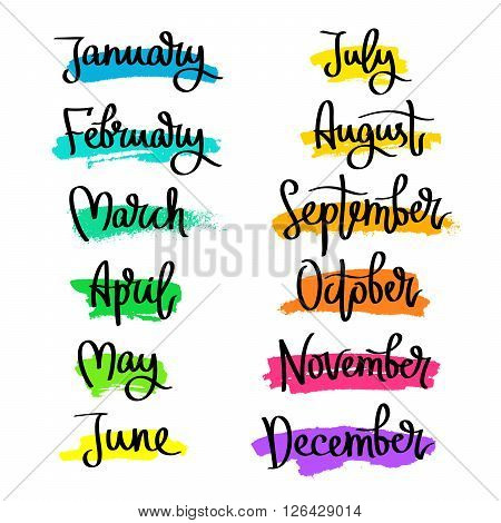 Set of labels of the months of the year. Fashionable calligraphy. January February March April May June July August September November December. Vector illustration on white background with dabs of ink of different colors. Elements for design.